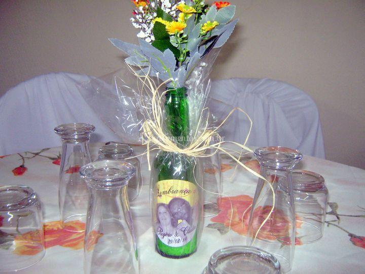 Delicada decoração das mesas