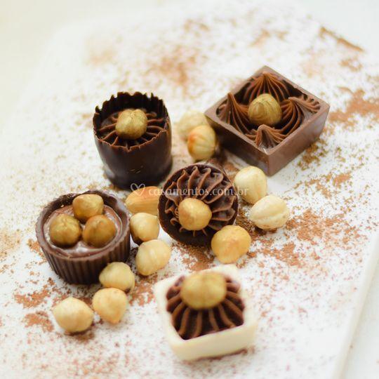 Variedades de nutella e avelã.