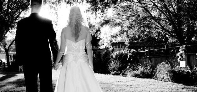 Vista da noiva e do noivo