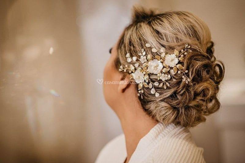 Arranjo para cabelo de noiva