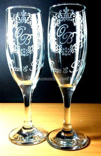 Taças em vidro personalizada
