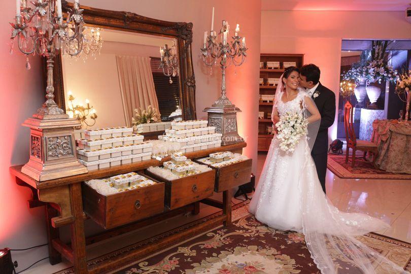 Recepcionando os noivos