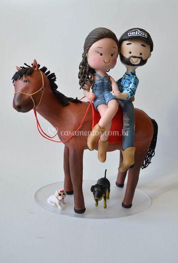 Noivinhos com cavalo