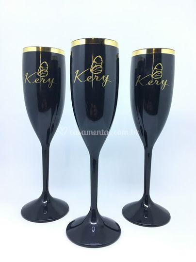 Taça Champagne com borda metal