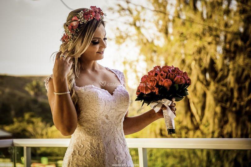 A noiva e o buquê