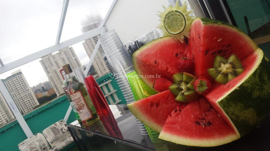 Balcão decorado com frutas