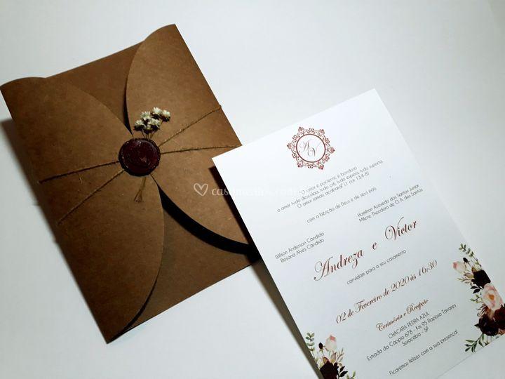 Convites de Casamento Rústico