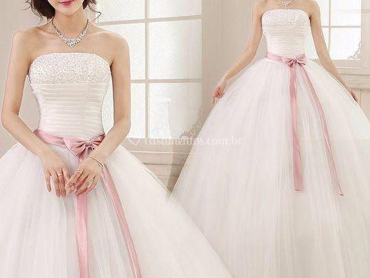 Vestido noiva c/ fita rosa - 4