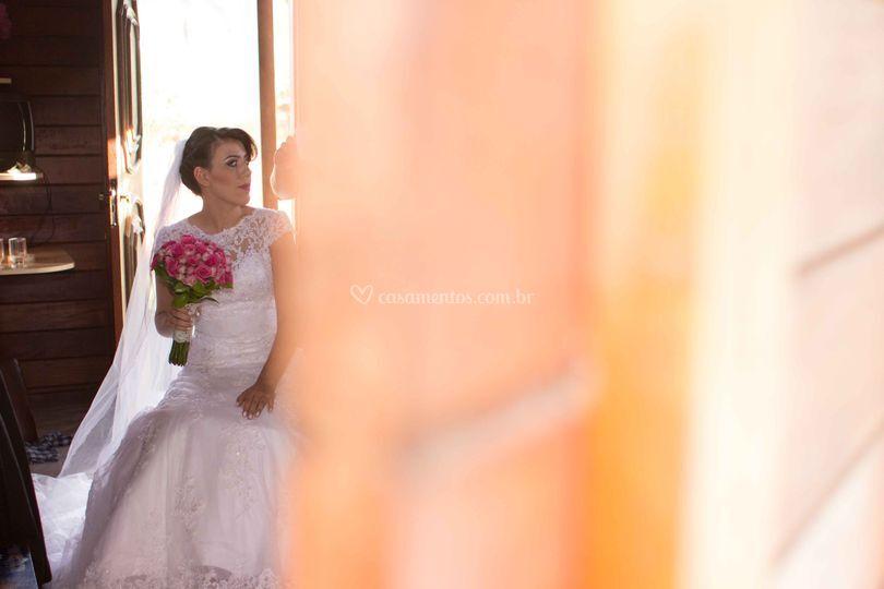 Noiva com seu buquê