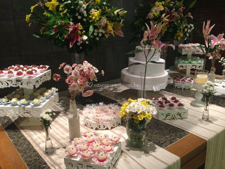 Decoração mesa bolo