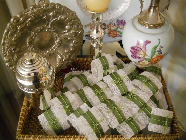 Embalagem para bem casado laço folha