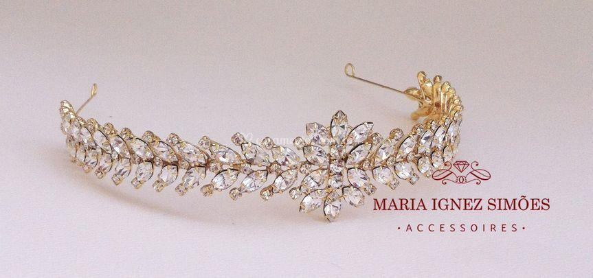 Tiara noiva strass ouro 18k