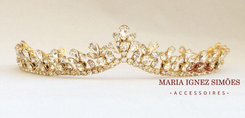Coroa noiva strass ouro 18k
