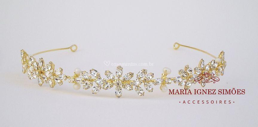 Tiara noiva pérolas e ouro18k