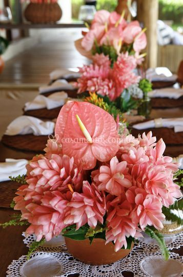 Centro de mesa tropical pink
