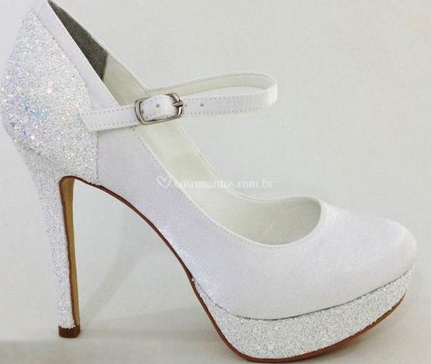 Cetim branco cristal e glitter