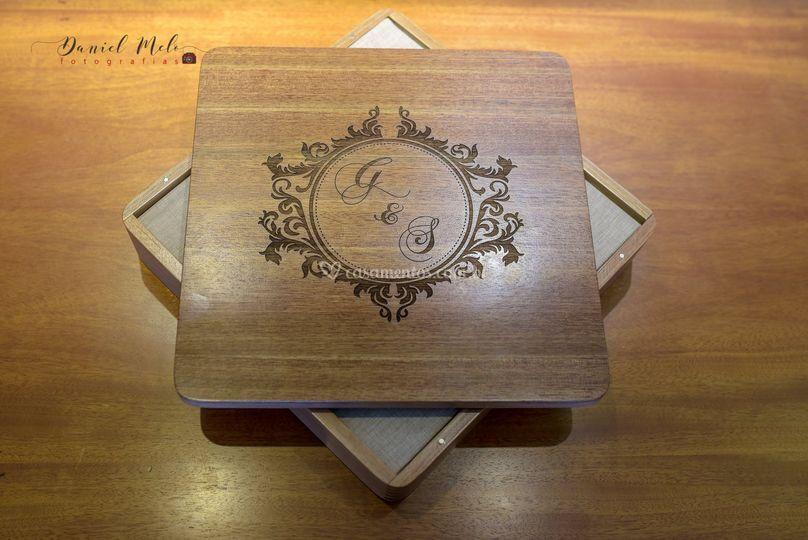 Álbuns Caix de Madeira/Tecido