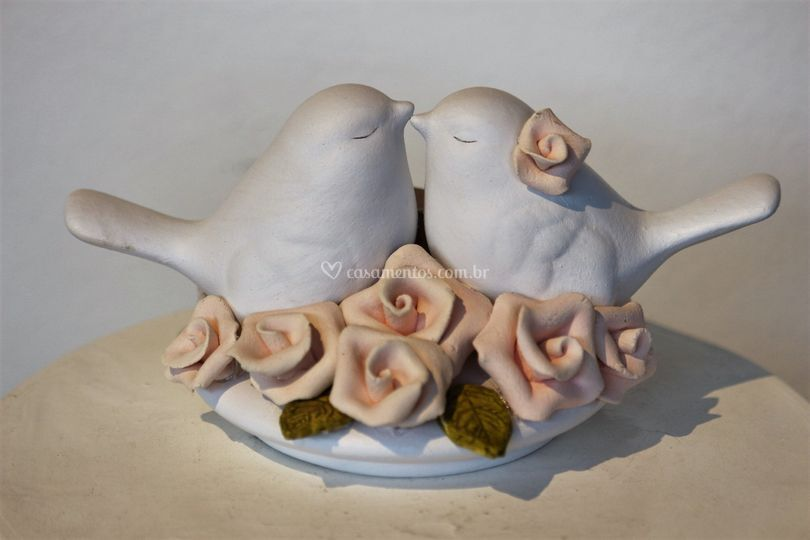 Topo ninho de rosas 10x9cm