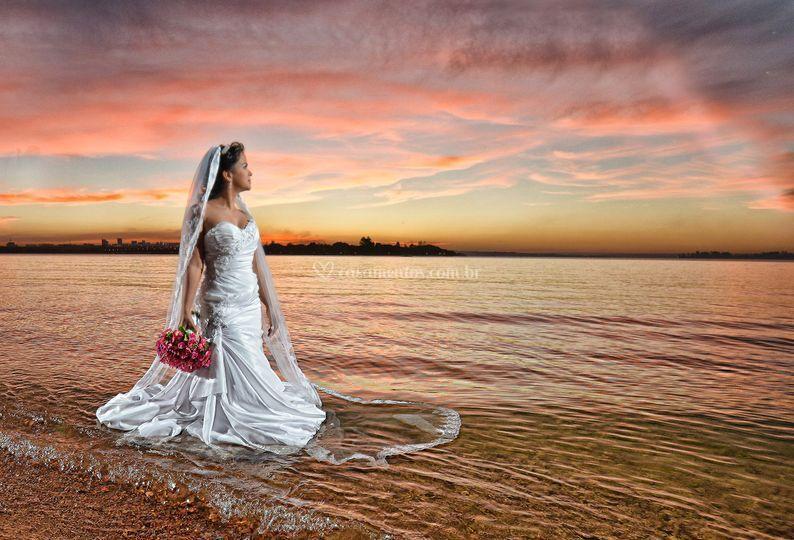 Previa noiva no lago