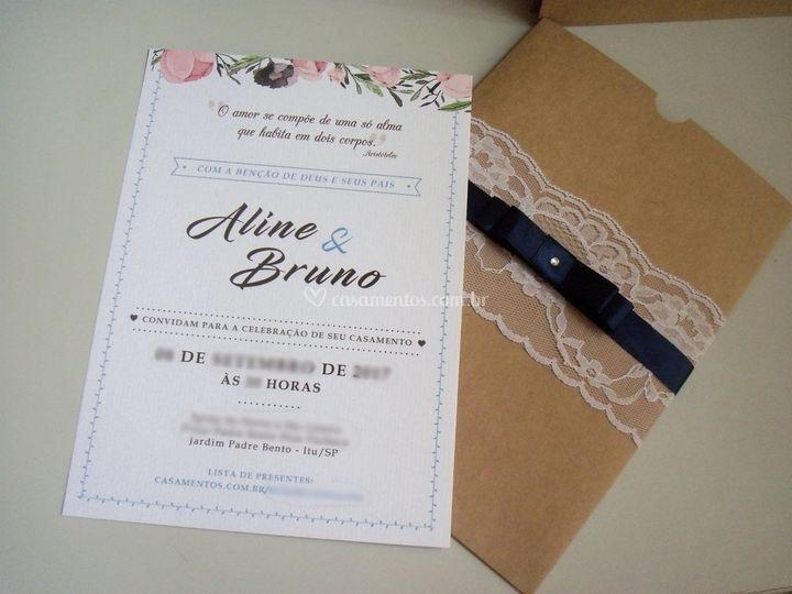 Convite + Envelope TIpo Luva