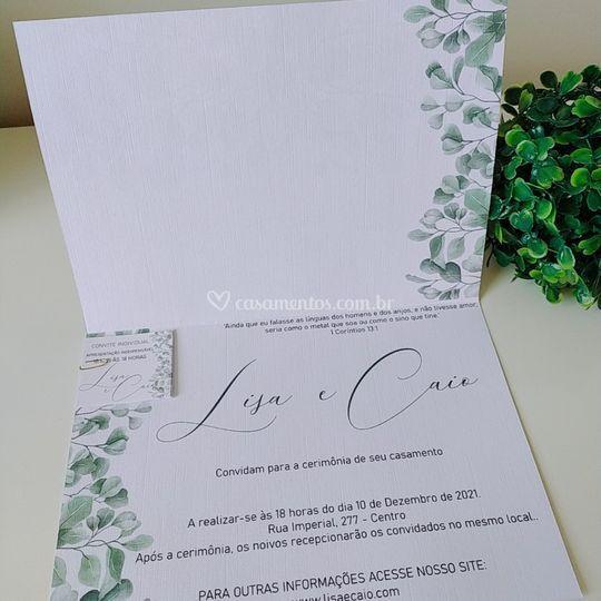 Convite rústico folhagem