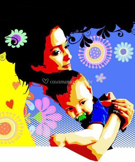 Mãe e filho em plano médio