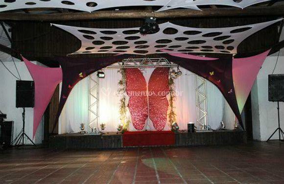 A decoração de palco
