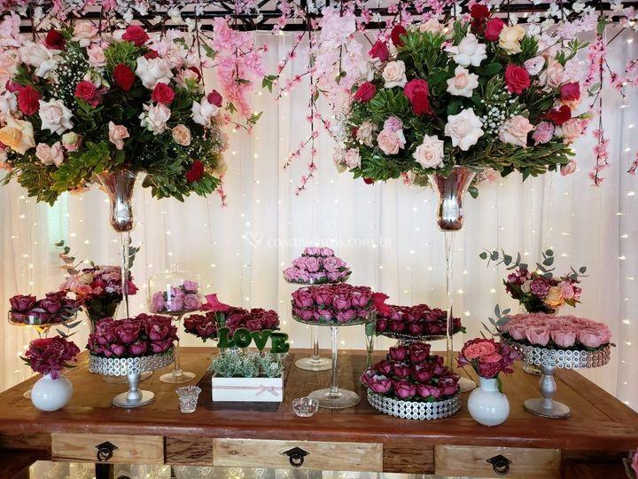 Mesa floral rosa