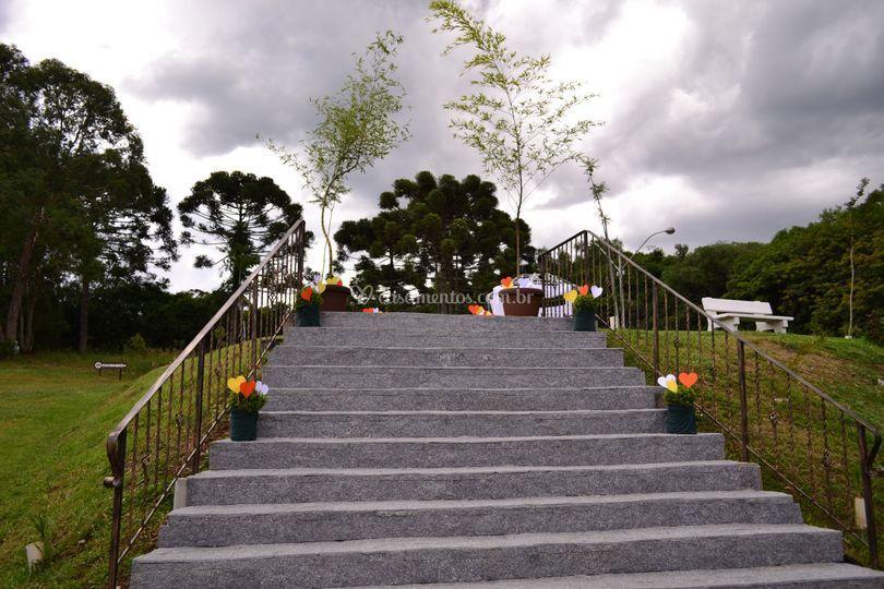 Escada para a subida da noiva