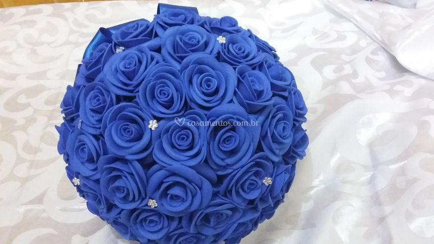 Buquê de Noiva Azul com Strass