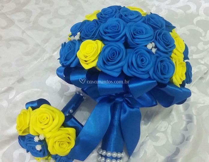 Buquê de Noiva Azul e Amarelo