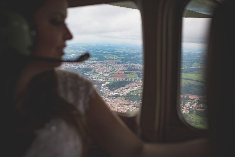 A vista pela janela do avião