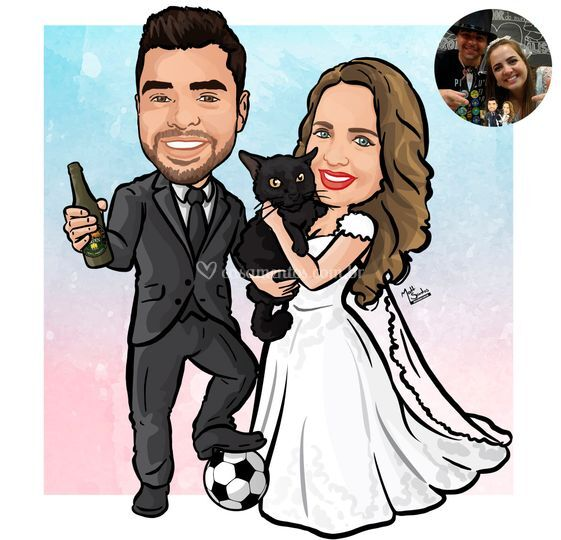 Caricatura de Noivos com Pet