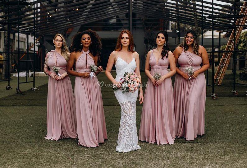 Madrinhas e noiva