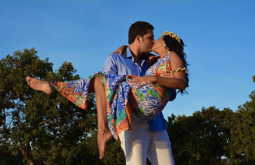 Romantismo sob o céu azul