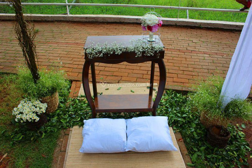 Altar para casamento rústico