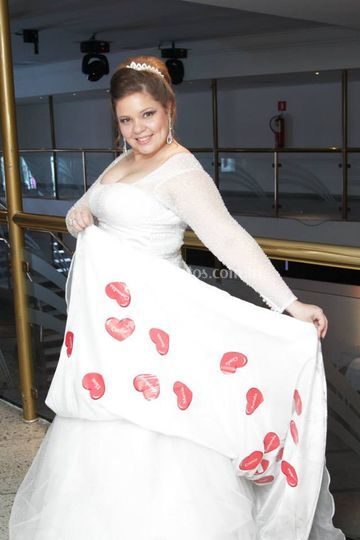 Barra do vestido da noiva