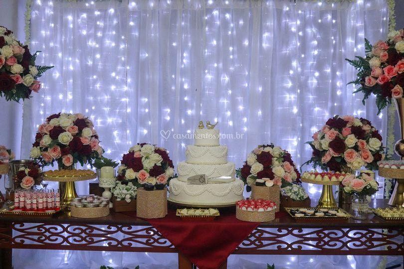 Marsala mesa casamento