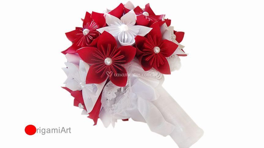 Buquê de sakura de origami
