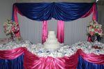 Mesa do bolo em tecido de Buffet Luan