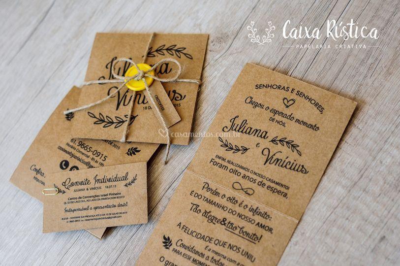 Convite Kraft De Caixa Rústica Foto 4
