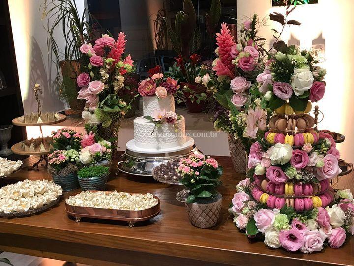 Mesa bolo - romântico