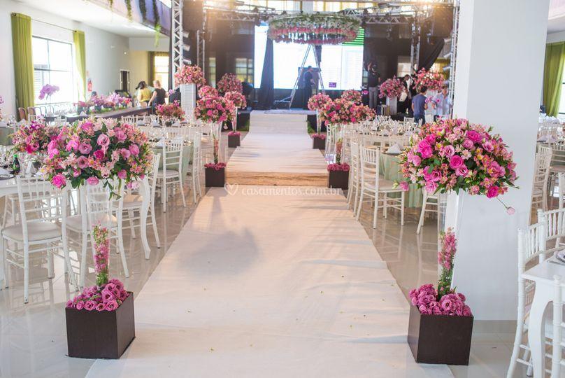 Salão decorado para Casamento.