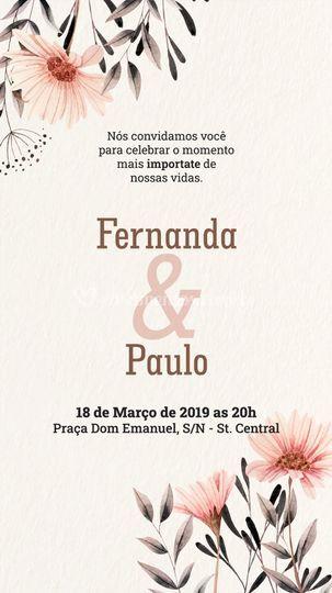 Modelo de convite floral