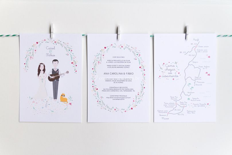 Convite de casamento ilustrado