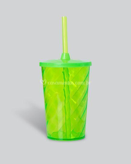 Copo canudo verde neon translucido