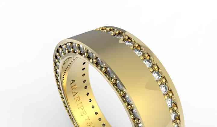 Aliança ouro 18k diamantes