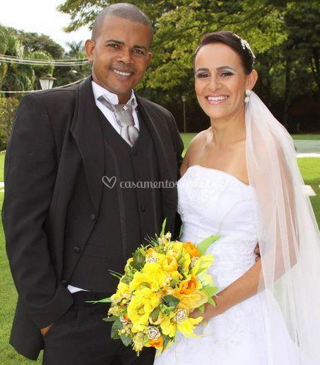 Felicidade de noivos