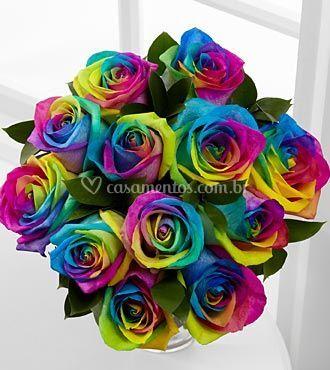 Buquê de noiva rosa multicolor