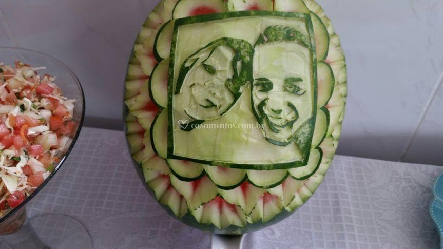 Foto noivos melancia